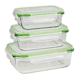 GOURMETmaxx Glas-Frischhaltedosen Klick-it 6 tlg. | Spülmaschinen- Mikrowellen- und Gefrierschrankgeeignet | Deckel BPA-frei mit Silikon Dichtungsring und 4-fach-Klick-Verschluss [limegreen] - 1