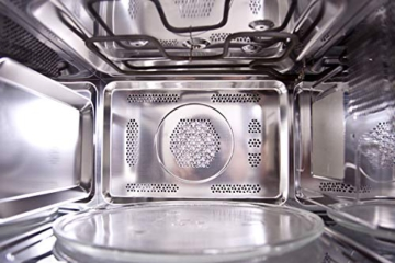 Sharp R982STWE 3-in-1 Mikrowelle mit Heißluft und Grill / 42 L / 1000 W / 1300 W Infrarotgrill / 2700 W Heißluft / 10 Automatikprogramme / LED-Display mit Uhr / Glasdrehteller (34,5 cm) / Edelstahl - 11