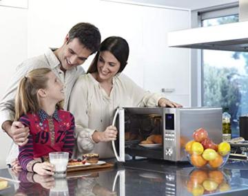 Sharp R982STWE 3-in-1 Mikrowelle mit Heißluft und Grill / 42 L / 1000 W / 1300 W Infrarotgrill / 2700 W Heißluft / 10 Automatikprogramme / LED-Display mit Uhr / Glasdrehteller (34,5 cm) / Edelstahl - 13