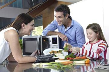 Sharp R982STWE 3-in-1 Mikrowelle mit Heißluft und Grill / 42 L / 1000 W / 1300 W Infrarotgrill / 2700 W Heißluft / 10 Automatikprogramme / LED-Display mit Uhr / Glasdrehteller (34,5 cm) / Edelstahl - 15