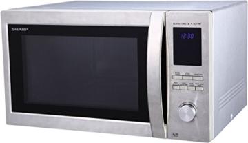 Sharp R982STWE 3-in-1 Mikrowelle mit Heißluft und Grill / 42 L / 1000 W / 1300 W Infrarotgrill / 2700 W Heißluft / 10 Automatikprogramme / LED-Display mit Uhr / Glasdrehteller (34,5 cm) / Edelstahl - 1
