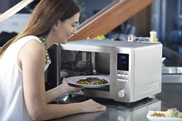 Sharp R982STWE 3-in-1 Mikrowelle mit Heißluft und Grill / 42 L / 1000 W / 1300 W Infrarotgrill / 2700 W Heißluft / 10 Automatikprogramme / LED-Display mit Uhr / Glasdrehteller (34,5 cm) / Edelstahl - 7